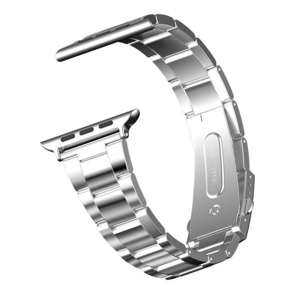 JEDirect Apple Watch 用バンド 38mm と 40mm Series 1 2 3 4対応 ステンレス留め金製 シルバー|fujibeni