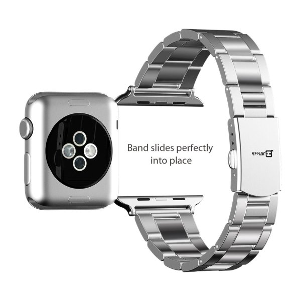 JEDirect Apple Watch 用バンド 38mm と 40mm Series 1 2 3 4対応 ステンレス留め金製 シルバー|fujibeni|05