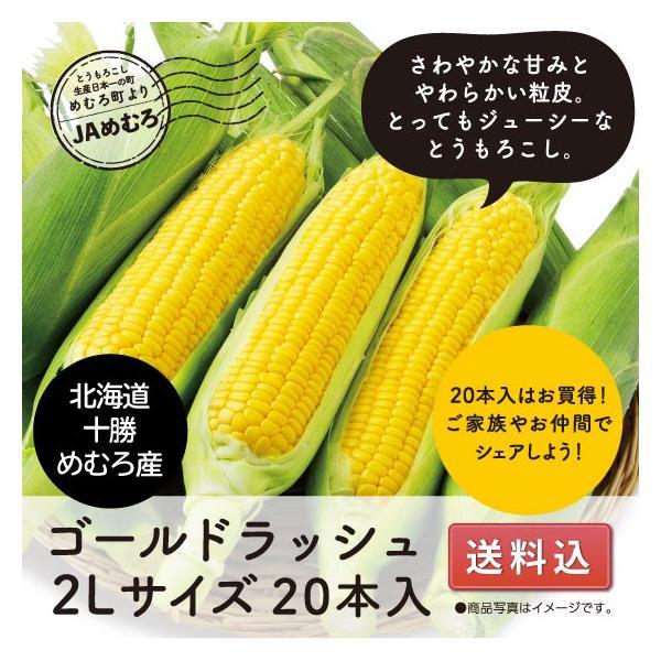 ≪送料込≫とうもろこし 北海道十勝めむろ産ゴールドラッシュ2Lサイズ20本入|fujimzru2826