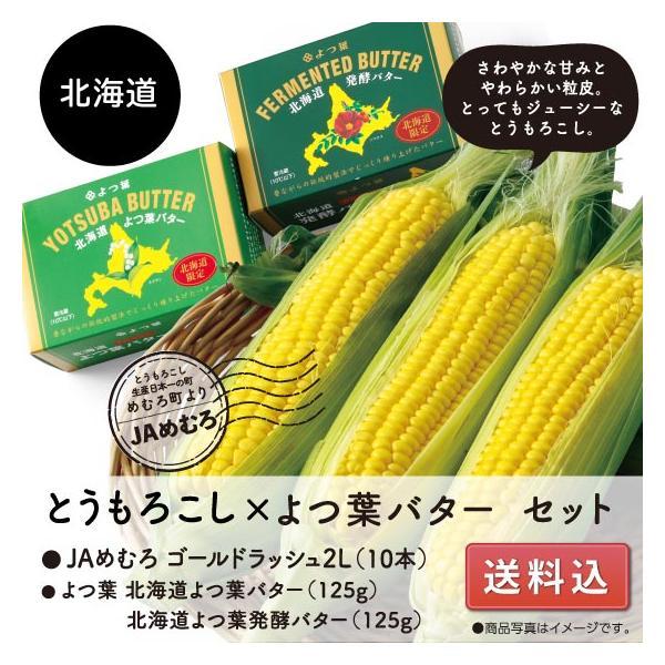 とうもろこし ゴールドラッシュ バター2種 送料込 北海道十勝めむろ産とうもろこし 2Lサイズ10本入 よつ葉 詰合せ