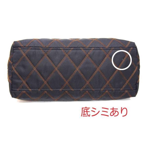 プラダ PRADA  トートバッグ  ナイロン 黒×ステッチ茶系 8130