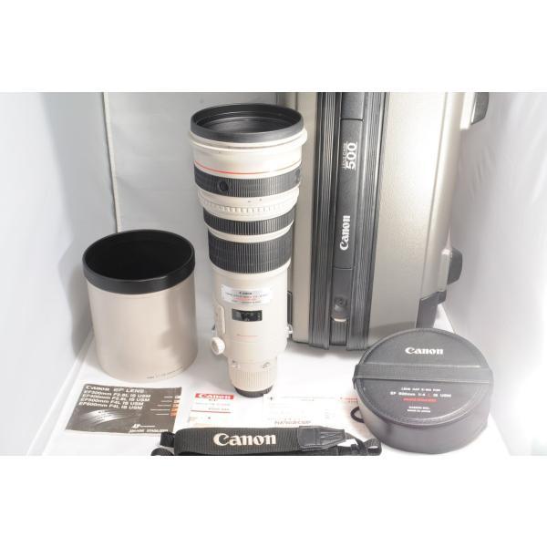 良品 キャノン CANON EF 500mm F4L IS USM フード ケ−ス付き