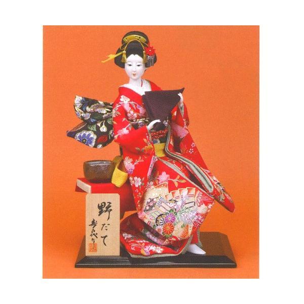 日本人形 尾山人形 座り姿 『寿喜代作 野だて 正絹 茶道具 10号』