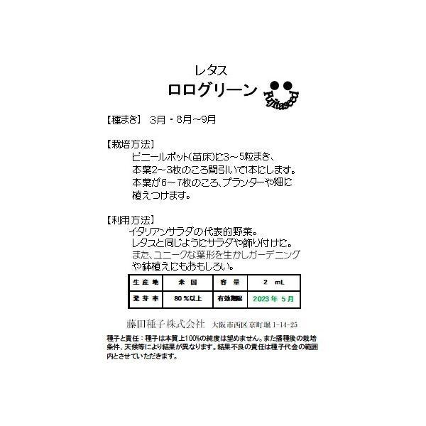 野菜 タネ 種 レタス ロログリーン 藤田種子|fujitaseed|02