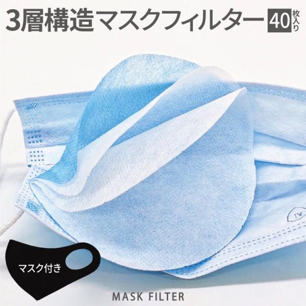 マスクシート マスク付 40枚 使い捨て マスク 専用 フィルター シート 取り換えシート ウイルス対策 マスク用 花粉 ウイルス 【マスクフィルター 40枚入り】|fujitatsu