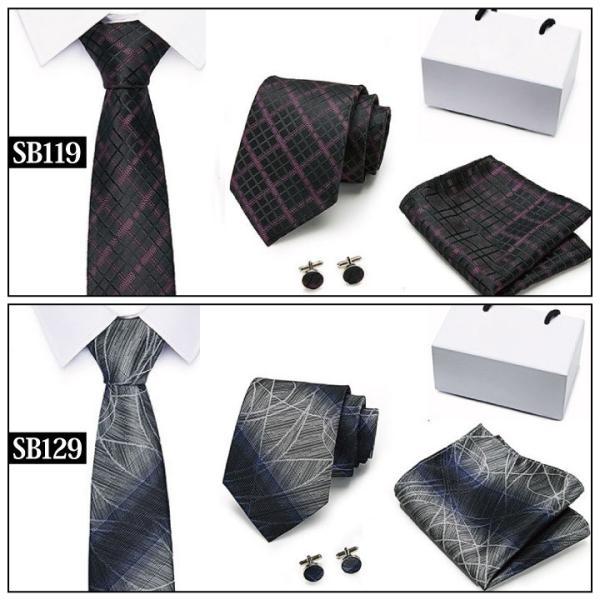 ネクタイ おしゃれ チーフ カフス ボタン セット 結婚式 黒 入学式 スーツ バレンタイン ギフト NT1|fujitatsu|13