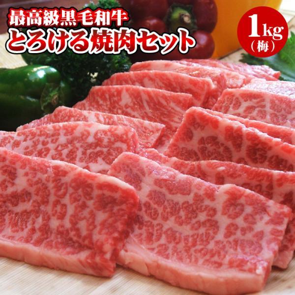 焼肉 黒毛和牛「極み」とろける焼肉セット 1kg(4〜5人前)(梅) 焼き肉 お試しセット 送料無料