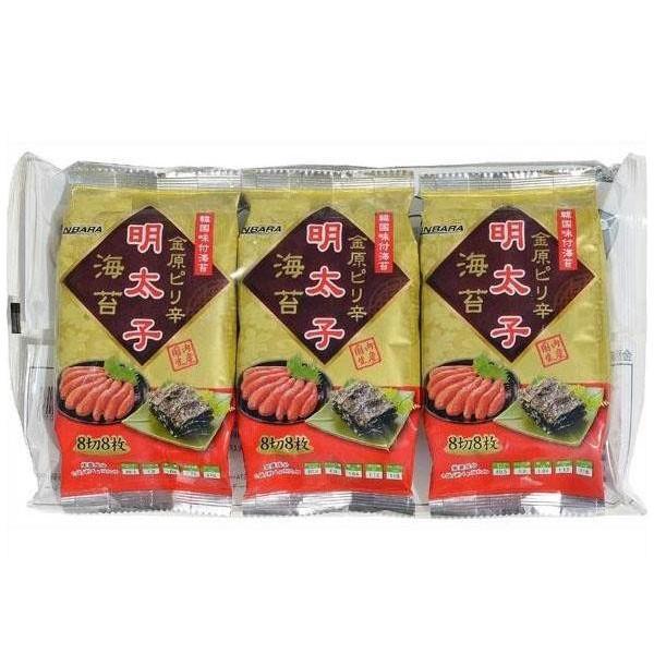 (同梱・代引不可)金原海苔店 韓国味付海苔 金原ピリ辛明太子海苔 (8切8枚×3P) 12個セット fuki-fashion