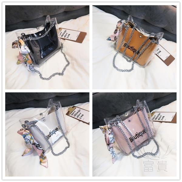 カバン 鞄 レディースショルダーバッグ バッグインバッグ  クリアバッグ 2WAY 通勤  斜め掛け 防水 巾着 アルファベット ビニールインバッグ|fuki-fashion|02