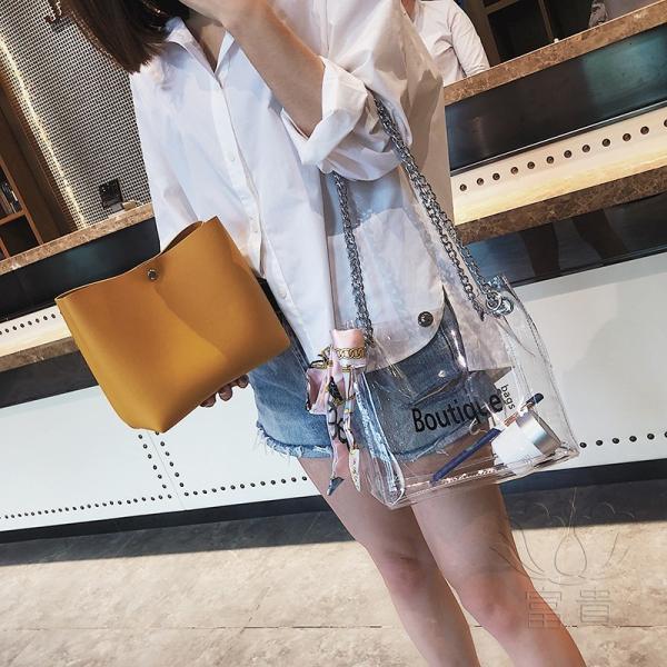カバン 鞄 レディースショルダーバッグ バッグインバッグ  クリアバッグ 2WAY 通勤  斜め掛け 防水 巾着 アルファベット ビニールインバッグ|fuki-fashion|11