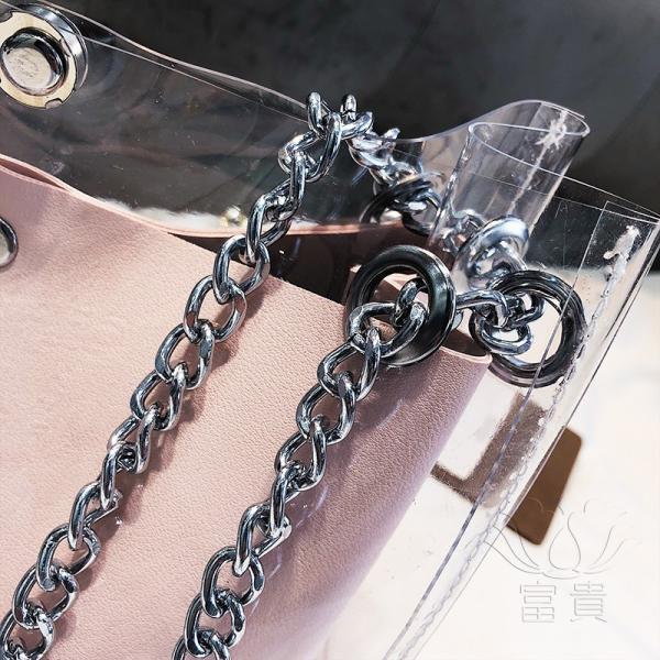 カバン 鞄 レディースショルダーバッグ バッグインバッグ  クリアバッグ 2WAY 通勤  斜め掛け 防水 巾着 アルファベット ビニールインバッグ|fuki-fashion|13