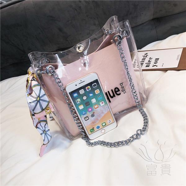 カバン 鞄 レディースショルダーバッグ バッグインバッグ  クリアバッグ 2WAY 通勤  斜め掛け 防水 巾着 アルファベット ビニールインバッグ|fuki-fashion|16