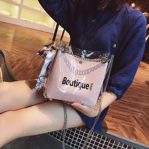 カバン 鞄 レディースショルダーバッグ バッグインバッグ  クリアバッグ 2WAY 通勤  斜め掛け 防水 巾着 アルファベット ビニールインバッグ|fuki-fashion|03