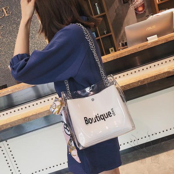 カバン 鞄 レディースショルダーバッグ バッグインバッグ  クリアバッグ 2WAY 通勤  斜め掛け 防水 巾着 アルファベット ビニールインバッグ|fuki-fashion|04