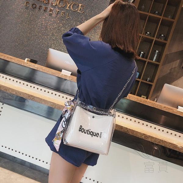 カバン 鞄 レディースショルダーバッグ バッグインバッグ  クリアバッグ 2WAY 通勤  斜め掛け 防水 巾着 アルファベット ビニールインバッグ|fuki-fashion|05