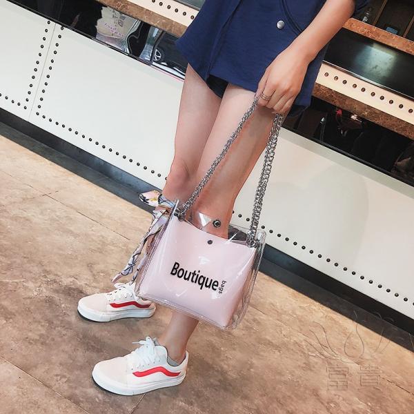 カバン 鞄 レディースショルダーバッグ バッグインバッグ  クリアバッグ 2WAY 通勤  斜め掛け 防水 巾着 アルファベット ビニールインバッグ|fuki-fashion|06