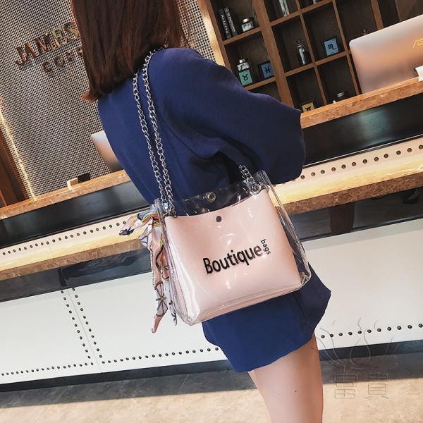 カバン 鞄 レディースショルダーバッグ バッグインバッグ  クリアバッグ 2WAY 通勤  斜め掛け 防水 巾着 アルファベット ビニールインバッグ|fuki-fashion|07