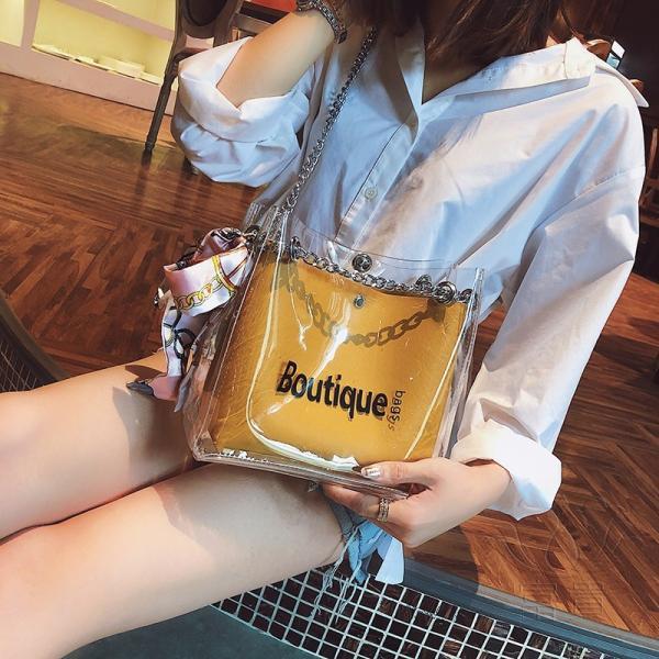 カバン 鞄 レディースショルダーバッグ バッグインバッグ  クリアバッグ 2WAY 通勤  斜め掛け 防水 巾着 アルファベット ビニールインバッグ|fuki-fashion|08