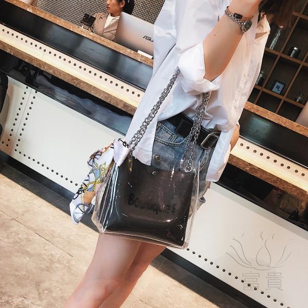 カバン 鞄 レディースショルダーバッグ バッグインバッグ  クリアバッグ 2WAY 通勤  斜め掛け 防水 巾着 アルファベット ビニールインバッグ|fuki-fashion|09