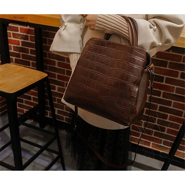 カバン 鞄 本革 ショルダーバック ハンドバック ワニ柄 型押し コンパクト マザーズバッグ 手持ち 肩掛け 通勤 二次会 2WAY カジュアル|fuki-fashion|10