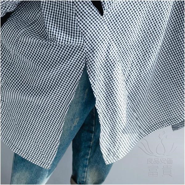 シャツワンピース 長袖 ギンガム Vネックライン パフスリーブ ウエストレースアップ サイドスリット アシンメトリー ポケットあり 羽織 2WAY|fuki-fashion|12