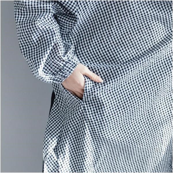 シャツワンピース 長袖 ギンガム Vネックライン パフスリーブ ウエストレースアップ サイドスリット アシンメトリー ポケットあり 羽織 2WAY|fuki-fashion|10