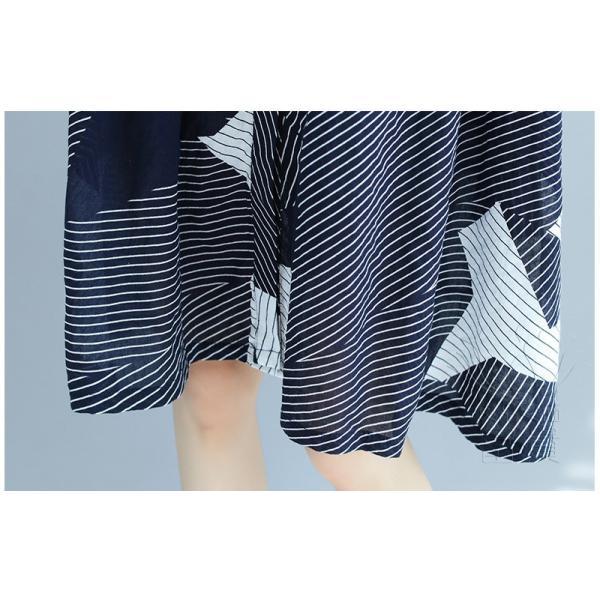 シャツワンピース 半袖 ストライプ 詰襟 幾何柄 キリカエ ハイウエスト Aライン フレア 膝丈 前ボタン ポケットあり 普段着 可愛い オシャレ fuki-fashion 11