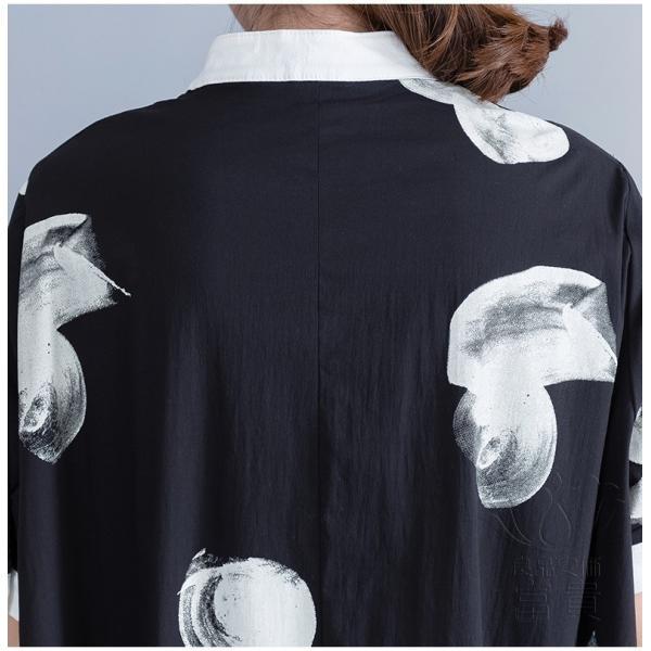 シャツワンピース 半袖 具体柄 詰襟 パフスリーブ 前ボタン ソデスリット Aライン フレア ミドル丈 普段着 オシャレ 通勤 大人 フェミニン|fuki-fashion|11