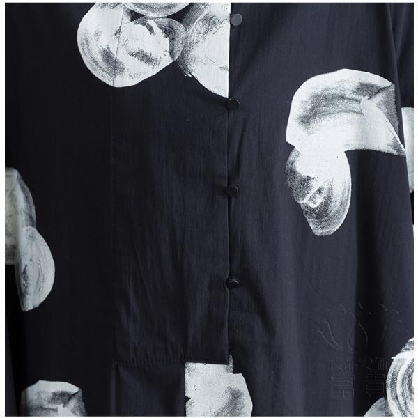 シャツワンピース 半袖 具体柄 詰襟 パフスリーブ 前ボタン ソデスリット Aライン フレア ミドル丈 普段着 オシャレ 通勤 大人 フェミニン|fuki-fashion|10
