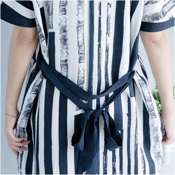 ブラウスワンピース 半袖 ストライプ Vネックライン ベルト付き ポケットあり ロング丈 普段着 カジュアル オシャレ 大人 通勤 モダン 爽やか|fuki-fashion|11
