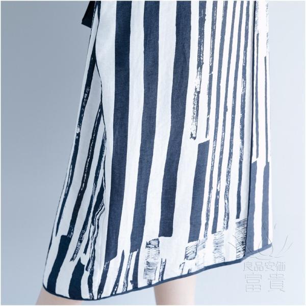 ブラウスワンピース 半袖 ストライプ Vネックライン ベルト付き ポケットあり ロング丈 普段着 カジュアル オシャレ 大人 通勤 モダン 爽やか|fuki-fashion|12