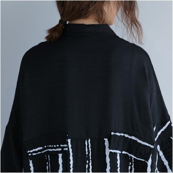 シャツワンピース 七分袖 ストライプ 折襟 フレアスリーブ ポケット付き キリカエ 羽織 2WAY ビッグシルエット 普段着 カジュアル オシャレ 通勤|fuki-fashion|11