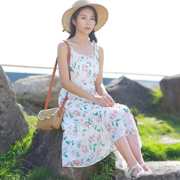 キャミ ワンピース リボン 花柄 シフォン 肩紐調整可能 裏地付き フレア Aライン ハイウエスト キリカエ ミドル丈 フェミニン 普段着 可愛い|fuki-fashion