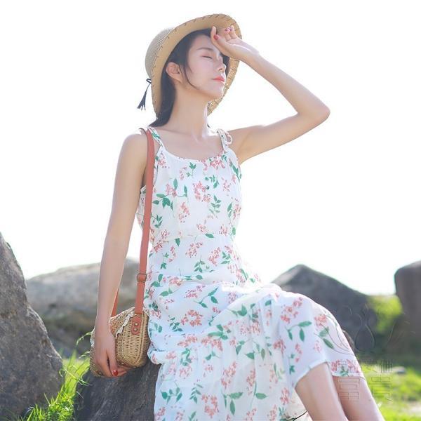 キャミ ワンピース リボン 花柄 シフォン 肩紐調整可能 裏地付き フレア Aライン ハイウエスト キリカエ ミドル丈 フェミニン 普段着 可愛い|fuki-fashion|11