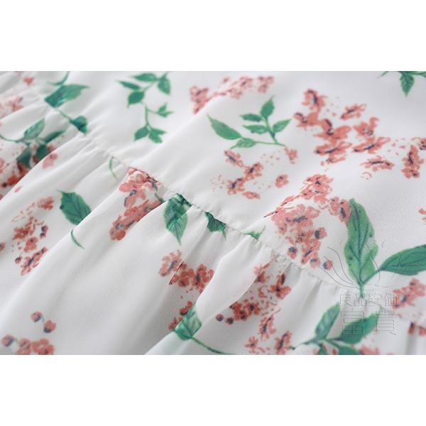 キャミ ワンピース リボン 花柄 シフォン 肩紐調整可能 裏地付き フレア Aライン ハイウエスト キリカエ ミドル丈 フェミニン 普段着 可愛い|fuki-fashion|13