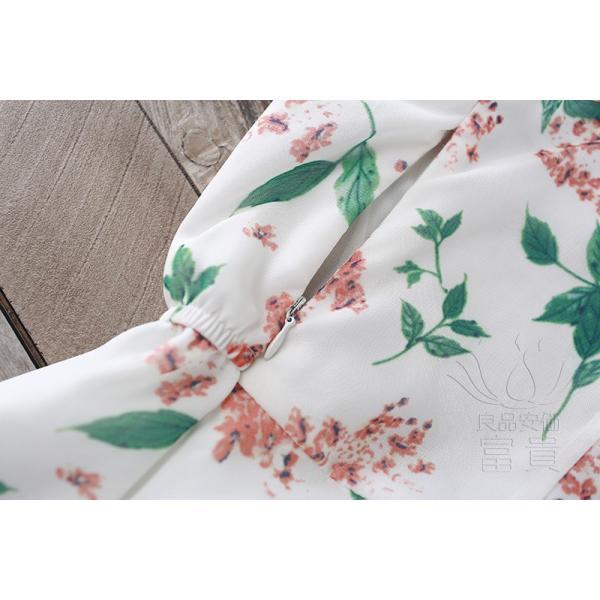 キャミ ワンピース リボン 花柄 シフォン 肩紐調整可能 裏地付き フレア Aライン ハイウエスト キリカエ ミドル丈 フェミニン 普段着 可愛い|fuki-fashion|14