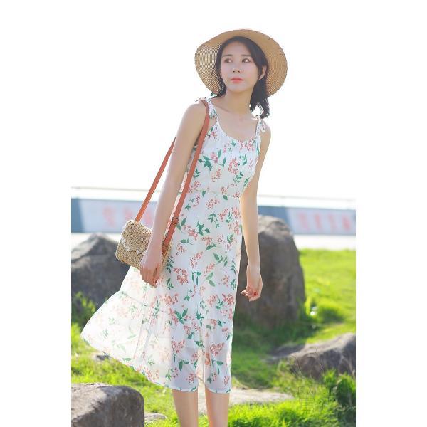 キャミ ワンピース リボン 花柄 シフォン 肩紐調整可能 裏地付き フレア Aライン ハイウエスト キリカエ ミドル丈 フェミニン 普段着 可愛い|fuki-fashion|05