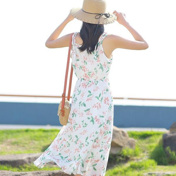 キャミ ワンピース リボン 花柄 シフォン 肩紐調整可能 裏地付き フレア Aライン ハイウエスト キリカエ ミドル丈 フェミニン 普段着 可愛い|fuki-fashion|07