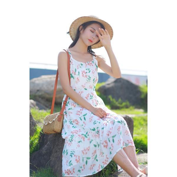 キャミ ワンピース リボン 花柄 シフォン 肩紐調整可能 裏地付き フレア Aライン ハイウエスト キリカエ ミドル丈 フェミニン 普段着 可愛い|fuki-fashion|09