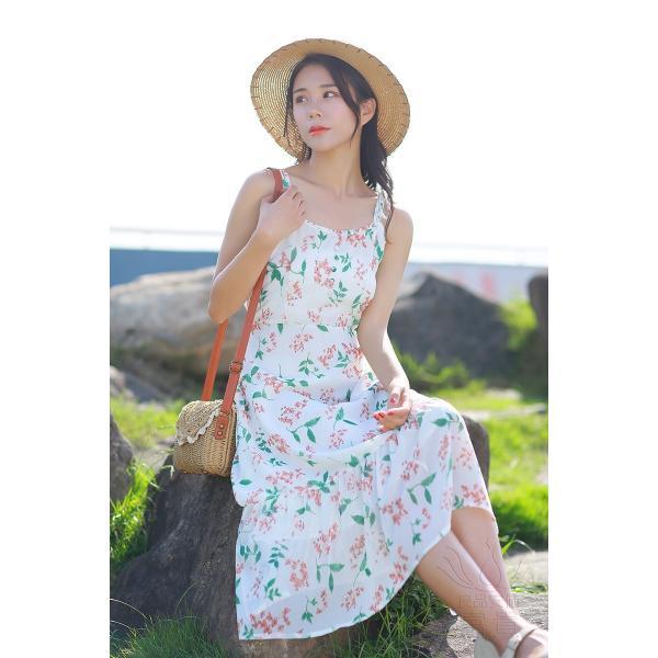 キャミ ワンピース リボン 花柄 シフォン 肩紐調整可能 裏地付き フレア Aライン ハイウエスト キリカエ ミドル丈 フェミニン 普段着 可愛い|fuki-fashion|10