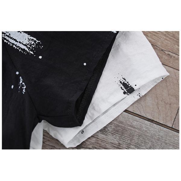 ブラウスワンピース 半袖 抽象柄 ラウンドネックライン フレアスリーブ フリル Aライン ビッグシルエット ハイウエスト 普段着 可愛い|fuki-fashion|16