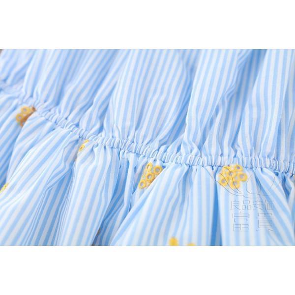 ブラウスワンピース 半袖 ストライプ オフショル パフスリーブ 刺繍 シャーリング スカラップ ハイウエスト フレア Aライン 可愛い 普段着 fuki-fashion 13