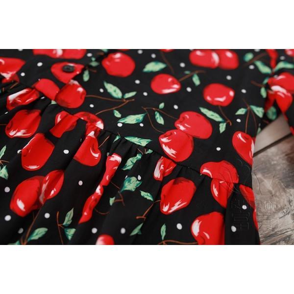 シャツワンピース 半袖 フルーツ柄 折襟 筒袖 前ボタン ハイウエスト Aライン フレア 膝丈 普段着 可愛い カジュアル レトロ 通勤|fuki-fashion|09