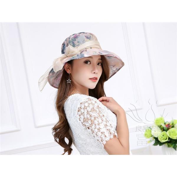 帽子 女性 UVカット 折畳める リボン飾り 花模様 つば広 海、登山 ファッション 通気性良い おしゃれ 春夏秋 女優帽 優雅 フェス、パーティー|fuki-fashion|11