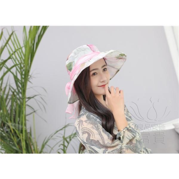 帽子 女性 UVカット 折畳める リボン飾り 花模様 つば広 海、登山 ファッション 通気性良い おしゃれ 春夏秋 女優帽 優雅 フェス、パーティー|fuki-fashion|12