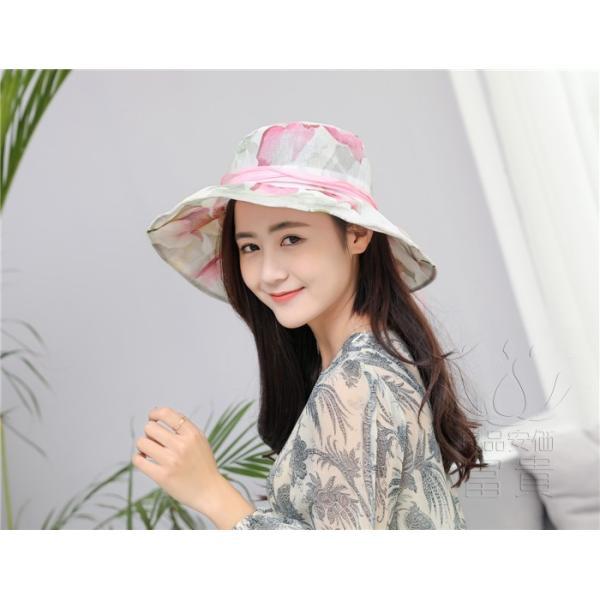 帽子 女性 UVカット 折畳める リボン飾り 花模様 つば広 海、登山 ファッション 通気性良い おしゃれ 春夏秋 女優帽 優雅 フェス、パーティー|fuki-fashion|13