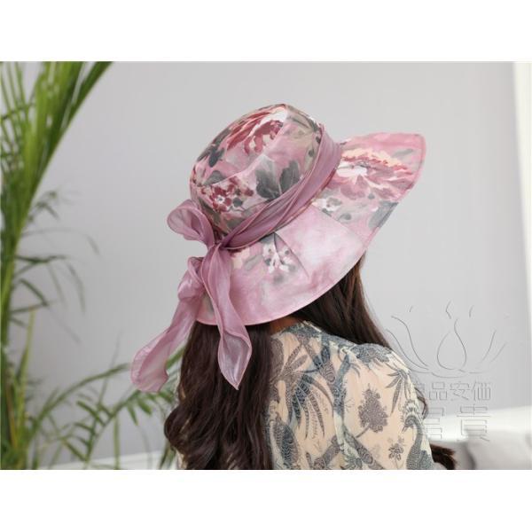 帽子 女性 UVカット 折畳める リボン飾り 花模様 つば広 海、登山 ファッション 通気性良い おしゃれ 春夏秋 女優帽 優雅 フェス、パーティー|fuki-fashion|14