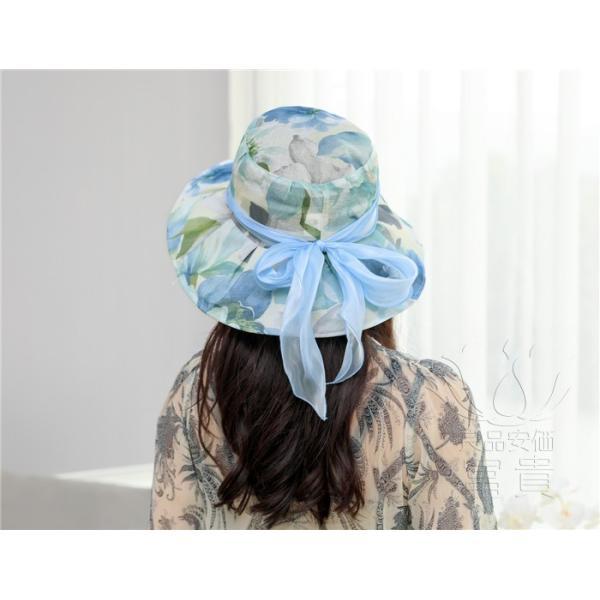 帽子 女性 UVカット 折畳める リボン飾り 花模様 つば広 海、登山 ファッション 通気性良い おしゃれ 春夏秋 女優帽 優雅 フェス、パーティー|fuki-fashion|15