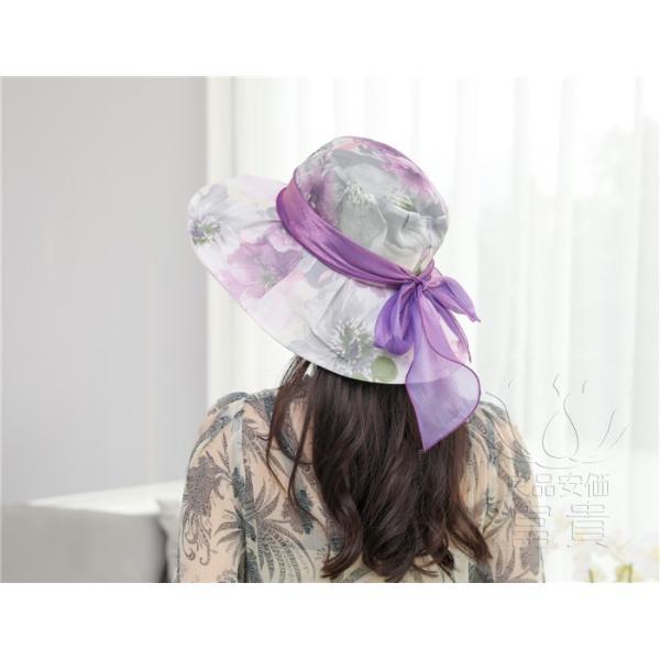 帽子 女性 UVカット 折畳める リボン飾り 花模様 つば広 海、登山 ファッション 通気性良い おしゃれ 春夏秋 女優帽 優雅 フェス、パーティー|fuki-fashion|16