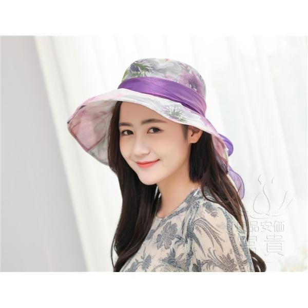 帽子 女性 UVカット 折畳める リボン飾り 花模様 つば広 海、登山 ファッション 通気性良い おしゃれ 春夏秋 女優帽 優雅 フェス、パーティー|fuki-fashion|17